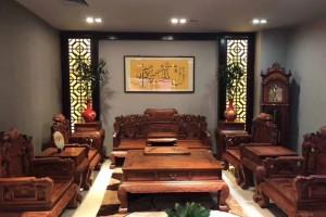 缅甸黄花梨沙发组合中式红木貔貅雕花明清古典家具大果紫檀实木飞天沙发