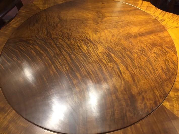 金丝楠木餐桌圆桌金丝楠木圆形黄金楠实木圆台桌椅组合桃花府红木家具