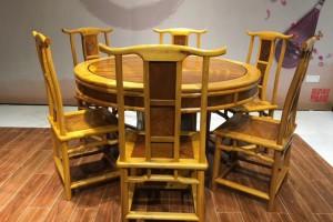 金丝楠木餐桌圆桌金丝楠木圆形圆桌黄金楠实木圆台桌椅组合红木餐桌产品