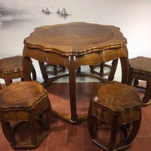 缅甸金丝楠木餐桌黄金楠直径1.13米梅花圆桌7件套休闲桌红木家具品牌