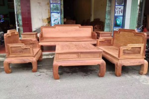 缅甸黄花梨实木沙发组合客厅中式套装大果紫檀素面宝座1+2+3整装六件套