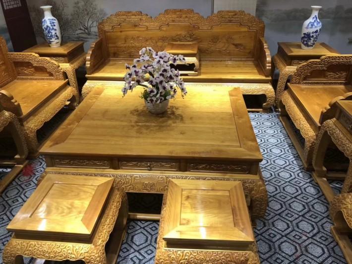 金丝楠木客厅荷花沙发