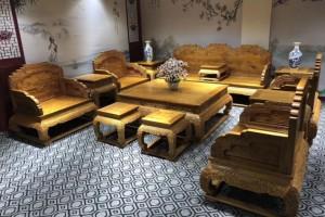 金丝楠木小叶桢楠客厅荷花沙发十三件套雕花祥云荷花家具