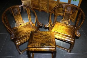 千年金丝楠木乌木皇宫椅三件套雕花仿古太师椅桢楠阴沉木圈椅