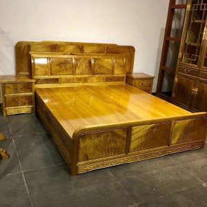 金丝楠木高低床卧室1.8米婚床实木组合仿古双人床金丝楠木桃花府红木家具品牌