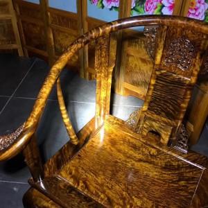 千年金丝楠木乌木皇宫椅三件套雕花仿古太师椅桢楠阴沉木圈椅桃花府红木家具品牌