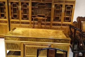 金丝楠木书房办公五件套莆田大办公桌大班台老板台书柜椅桃花府红木家具产品