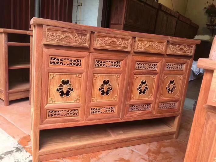 缅甸黄花梨餐边柜红木家具,缅花鞋柜白胚镂空蝙纹,梅兰竹菊浮雕