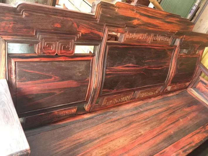 老挝大红酸枝步步高升沙发组合古典中式