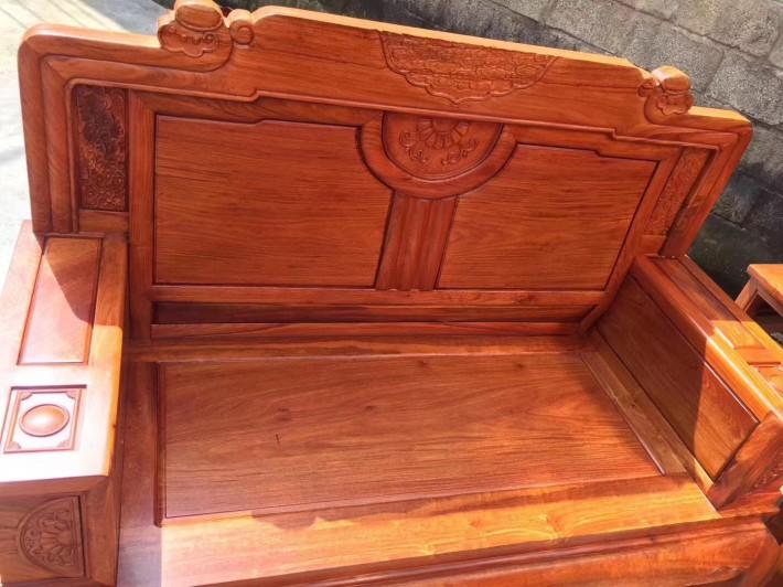 缅甸黄花梨沙发六件套客厅组合大果紫檀红木家具缅花沙发精品大漆