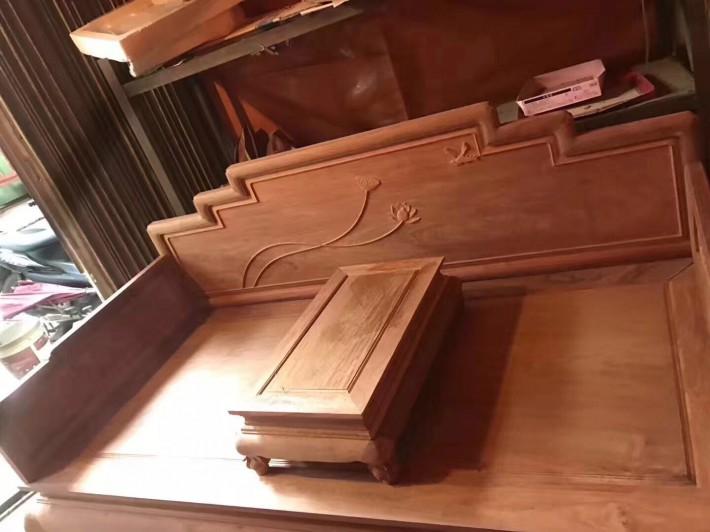 缅甸黄花梨罗汉床大果紫檀罗汉榻缅花红木客厅书房家具荷韵新中式