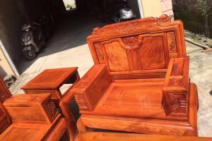 缅甸黄花梨沙发六件套客厅组合大果紫檀红木家具缅花沙发精品大漆图片
