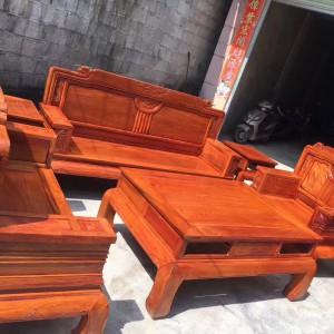 缅甸黄花梨沙发六件套客厅组合大果紫檀红木家具缅花沙发精品大漆品牌