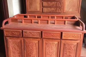 缅甸黄花梨餐边柜红木家具,缅花鞋柜白胚镂空蝙纹,梅兰竹菊浮雕图片