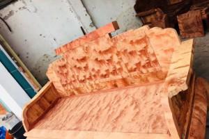 缅甸黄花梨大果紫檀八宝沙发十件套,特殊火焰纹