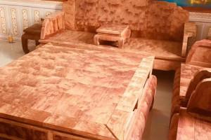 缅甸黄花梨大果紫檀八宝沙发十件套,特殊火焰纹图片