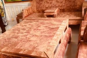 缅甸黄花梨大果紫檀八宝沙发十件套,特殊火焰纹产品