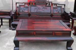 老挝大红酸枝沙发6件套广西御红轩红木家具