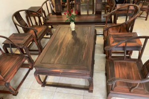 大红酸枝圈椅茶几10件套尺寸135*88cm独板收藏价值高