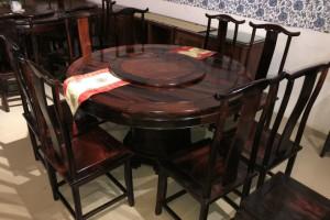 大红酸枝明式餐桌9件套