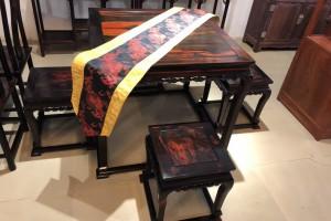 大红酸枝型韵精工、休闲桌五件套