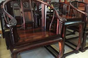 大红酸枝精工打造皇宫椅三件套