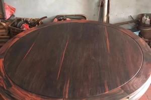 老挝大红酸枝圆桌家具11件套,交趾黄檀圆餐桌套装无拼补无白皮
