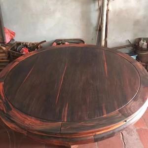 老挝大红酸枝圆桌家具11件套,交趾黄檀圆餐桌套装无拼补无白皮品牌