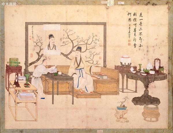 宫廷画家丁观鹏所绘《是一是二图》