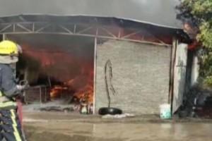 广东阳西一木材厂起火