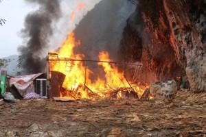 河池市宜州区一木材加工厂起火