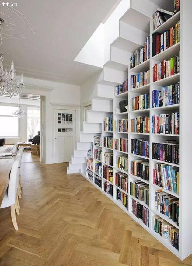 楼梯下方收纳书籍