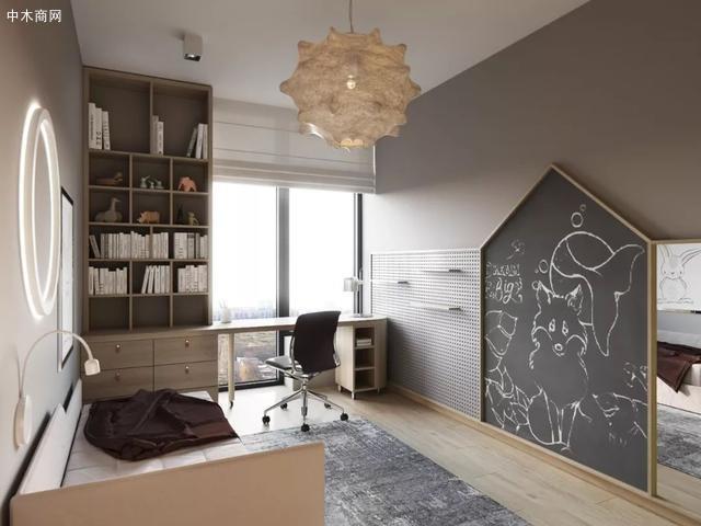 将木色与灰色作为室内的主要色彩
