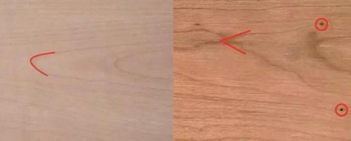 """▲西南桦木(左)花纹多见""""U""""型,樱桃木(右)花纹多见""""V""""型"""
