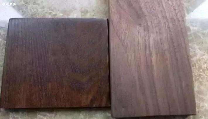 假胡桃木(左)和真胡桃木(右)