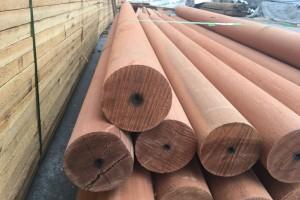 园林景观柳桉木原木圆柱柱子古建圆柱防腐木主梁定做