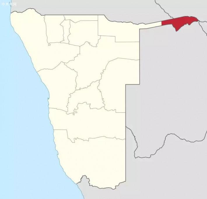 赞比西区在纳米比亚的位置 来源 维基百科 Wikipedia