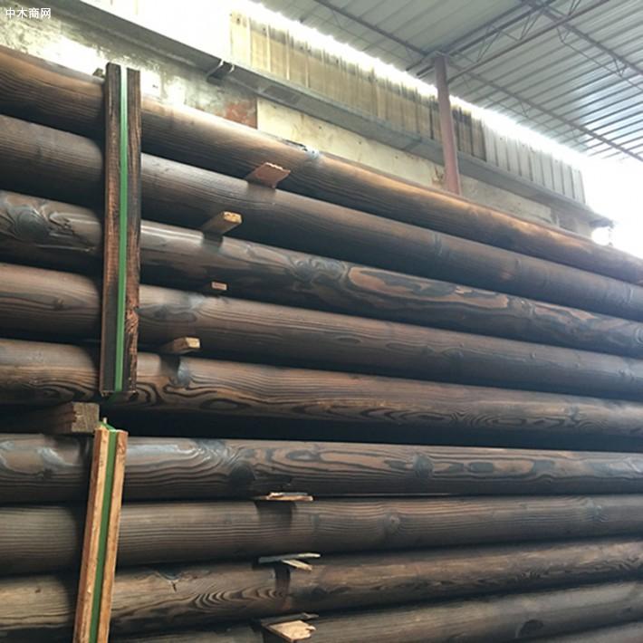 花旗松碳化木圆柱实木立柱古建圆柱复古主梁厂家批发