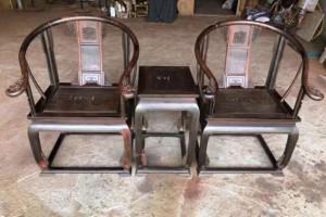 印度小叶紫檀圈椅3件套