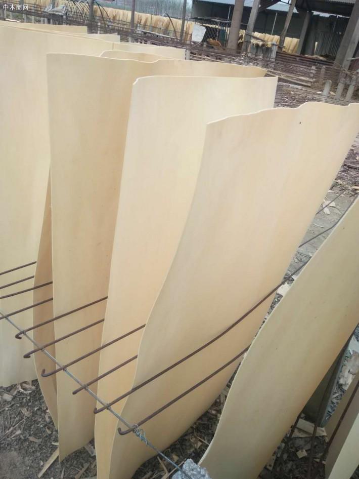 杨木原木刨切后,木皮的宽度和实际使用宽度比较窄