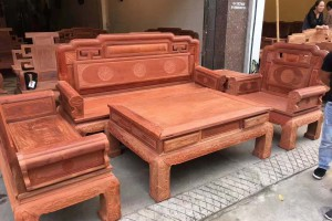 缅甸花梨国色天香沙发高清图片
