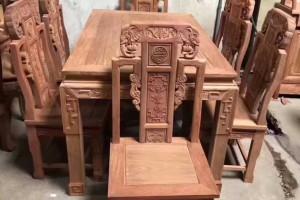 缅甸花梨木餐桌椅红木家具批发