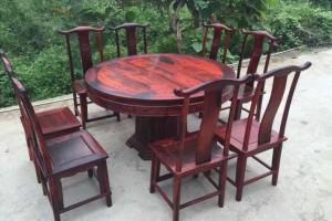 大红酸枝园餐桌红木家具厂家批发
