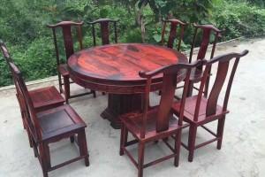 凭祥大红酸枝园餐桌红木家具高清图片