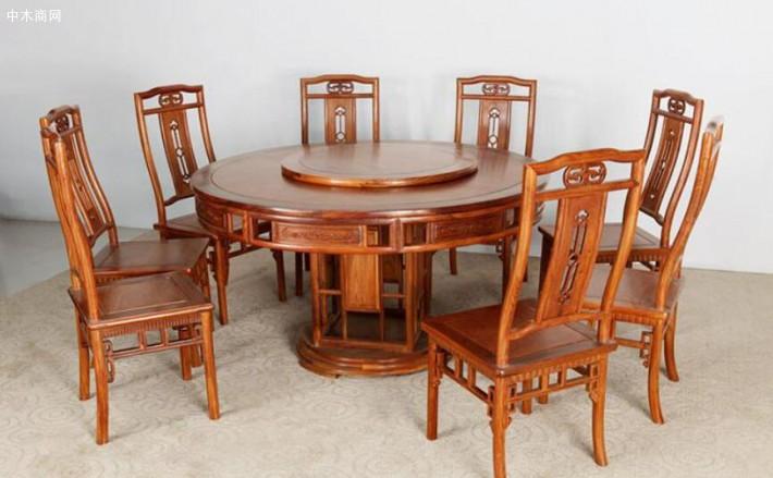 以龙之涵缅甸花梨木园餐桌为例