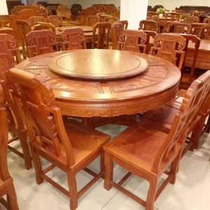龙之涵缅甸花梨木园餐桌十大品牌