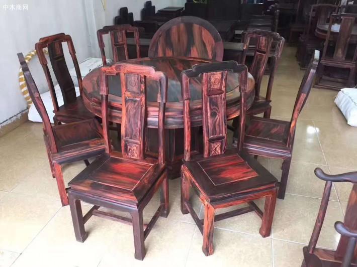大红酸枝圆餐桌椅红木家具厂家直销