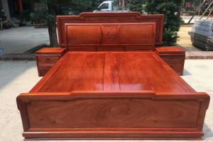 红木家具缅甸花梨木成品大床加工厂价格