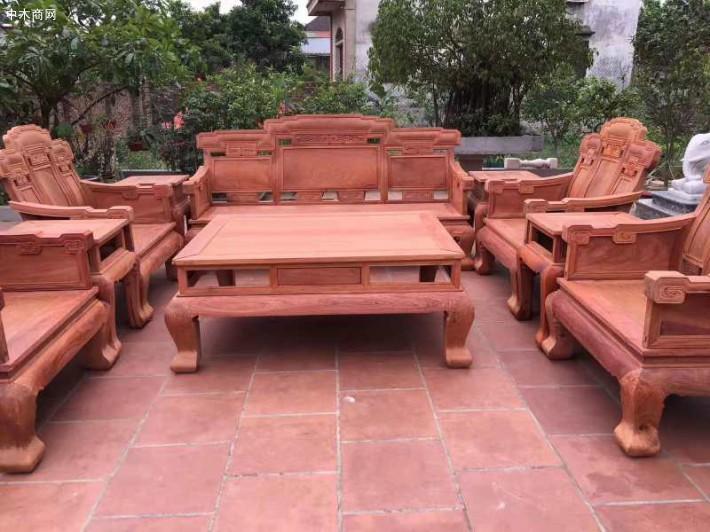 缅甸花梨木红木家具客厅沙发 缅花十件套步步高沙发