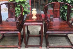 凭祥匠心居红木家具大红酸枝精品圈椅